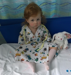 This was Amelia before going down for surgery. I mistakenly gave her felt tips which she got all over the bedsheet!