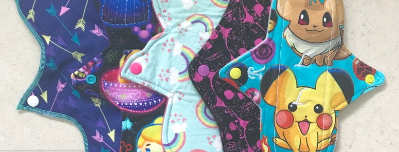 Reusable cloth sanitary pads in different shapes, sizes and patterns